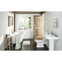 Orchard Dulwich roll top bath suite 1695 x 740mm with solid wood oak seat