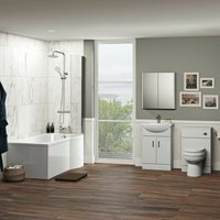 Eden complete right handed shower bath suite with taps, shower and wastes - Orchard