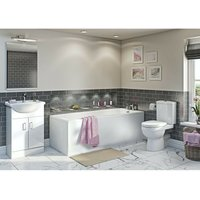 Eden complete white vanity bathroom suite with straight bath 1800 x 800 - Orchard