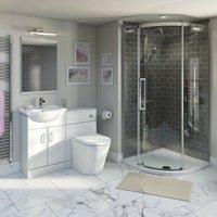 Eden ensuite suite with vanity unit, quadrant enclosure, and tray 800 x 800 - Orchard