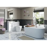 Eden white bathroom suite with contemporary freestanding bath 1780 x 800 - Orchard