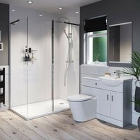 Eden white ensuite suite with 8mm frameless walk in shower enclosure and tray 1400 x 900 - Orchard
