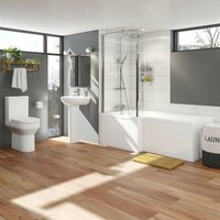 Wharfe bathroom suite with left handed L shaped shower bath 1700 x 850 - Orchard