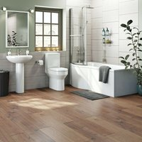 Wharfe bathroom suite with left handed P shaped shower bath 1700 x 850 - Orchard