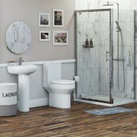 Wharfe bathroom suite with square enclosure and tray 760 x 900 - Orchard