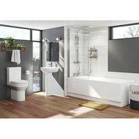 Orchard Wharfe bathroom suite with straight bath, shower and taps 1800 x 800