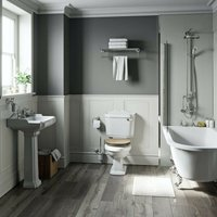 Winchester freestanding shower bath suite with limed oak effect seat - Orchard