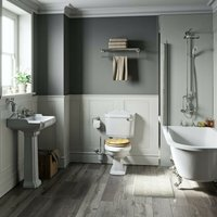 Winchester freestanding shower bath suite with MDF seat - Orchard