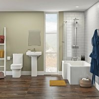Wye bathroom suite with left handed L shaped shower bath 1700 x 850 - Orchard