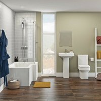 Wye bathroom suite with right handed L shaped shower bath 1700 x 850 - Orchard