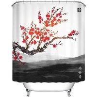 Bearsu - Oriental Sakura Cherry Tree Landscape Far Mountains Water Resistant Decorative Polyester Fabric Bathroom Shower Curtain Set with 12 Hooks,