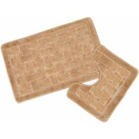 Orkney Beige Bath Mat and Pedestal Set - S.GREEN