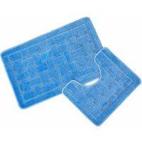 Orkney Blue Bath Mat and Pedestal Set
