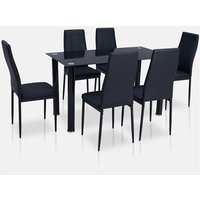 Orleans Glass Dining Table Set 6 Chairs Black Faux Leather Kitchen Dining Furniture
