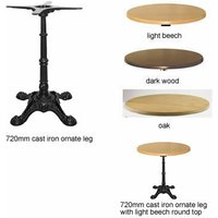 Ornal Dining Height Cast Iron Table With Ornate Leg Design Wood Cast Iron Dark Wood 600mm Round - NETFURNITURE