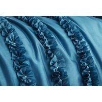 Other Lille Teal Detailed Super King Duvet Quilt Cover Bedding Set
