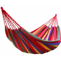 Green Bay - Outdoor 2 Person Canvas Hammock Garden Yard Beach Travel Camping Swing Hang Bed with Carry Bag 200x150cm Red