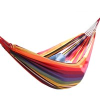 Outdoor 2 Person Canvas Hammock Garden Yard Beach Travel Camping Swing Hang Bed with Carry Bag 200x150cm Multi-Red