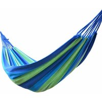Outdoor Canvas Hammock Garden Yard Beach Travel Camping Swing Hang Bed with Carry Bag 200x80cm Blue