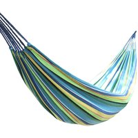 Outdoor Canvas Hammock Garden Yard Beach Travel Camping Swing Hang Bed with Carry Bag 200x80cm Multi-Blue - GREEN BAY
