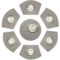 Round Placemats Set of 7 PVC Placemat Wedge Set Heat Resistant Washable Table (Silver Gray)