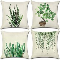 Outdoor Cushion Cover, 4 Piece Green Leaves Pattern Waterproof Pillowcase Set, Suitable for Backyard Garden Living Room Bedroom Decoration, 44x44cm