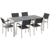 Modern Outdoor Dining Set Black Stone Tabletop Stainless Steel 6 Seater Grosseto
