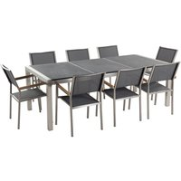 Beliani - 8 Seater Garden Dining Set Black Granite Triple Plate Top with Grey Chairs GROSSETO