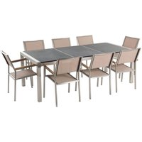 Beliani - 8 Seater Garden Dining Set Black Granite Triple Plate Top with Beige Chairs GROSSETO