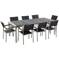 8 Seater Garden Dining Set Black Granite Triple Plate Top with Black Chairs GROSSETO - BELIANI