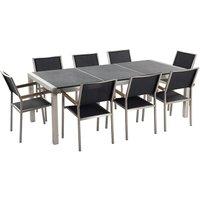 Beliani - 8 Seater Garden Dining Set Black Granite Triple Plate Top with Black Chairs GROSSETO