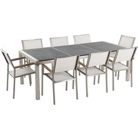 Beliani - 8 Seater Garden Dining Set Black Granite Triple Plate Top with White Chairs GROSSETO