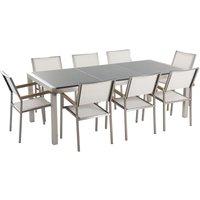 Garden Outdoor Dining Set Grey Granite Tabletop 8 White Chairs Grosseto