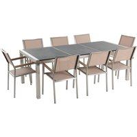 Garden Outdoor Dining Set Grey Granite Tabletop 8 Beige Chairs Grosseto