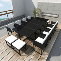 vidaXL 13 Piece Outdoor Dining Set with Cushions Poly Rattan Black - Black