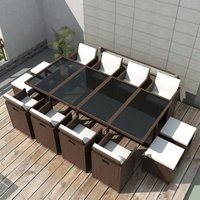 13 Piece Outdoor Dining Set with Cushions Poly Rattan Brown - Brown - Vidaxl