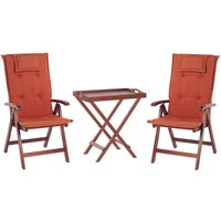 Beliani - Outdoor Garden Acacia Dark Wood Bistro Set Foldable Red Cushions Toscana
