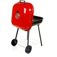 OUTDOOR GARDEN BBQ BARBECUE CHARCOAL WHEELED TROLLEY COOK GRILL 68*48*52CM Red - AUGIENB