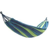 Outdoor Hammock Garden Portable Canvas Travel w/ Carry Bag Blue Stripes 280X80CM