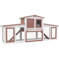 Outdoor Large Rabbit Hutch Brown and White 204x45x85 cm Wood - YOUTHUP