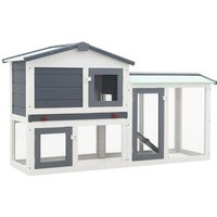 Outdoor Large Rabbit Hutch Grey and White 145x45x85 cm Wood - YOUTHUP