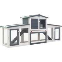 Youthup - Outdoor Large Rabbit Hutch Grey and White 204x45x85 cm Wood