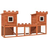 Outdoor Large Rabbit Hutch House Pet Cage Double House - VIDAXL