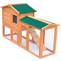 Outdoor Large Rabbit Hutch Small Animal House Pet Cage Wood - Brown - Vidaxl