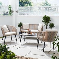 Outdoor Natural Rope Wicker Sofa, Chairs and Coffee Table Garden Furniture Set
