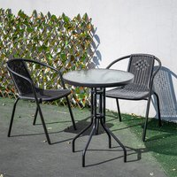 Outdoor Patio Metal Coffee Dining Table or Chairs Dining Set, Black Table + 2 Chairs