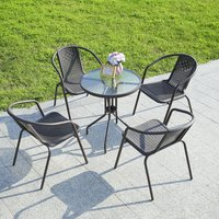 Outdoor Patio Metal Coffee Dining Table or Chairs Dining Set, Brown Table + 4 Chairs