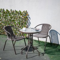 Outdoor Patio Metal Coffee Dining Table or Chairs Dining Set, Brown Table + 2 Chairs