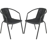 Outdoor Patio Metal Coffee Wicker Dining Chairs, Set of 2 Black