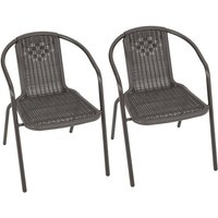 Outdoor Patio Metal Coffee Wicker Dining Chairs, Set of 2 Brown - LIVINGANDHOME
